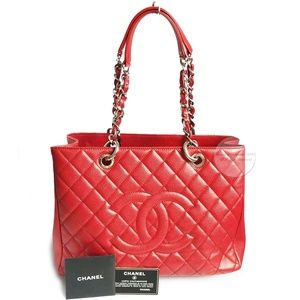 Chanel Grand Shopping Tote GST Red Caviar Leather